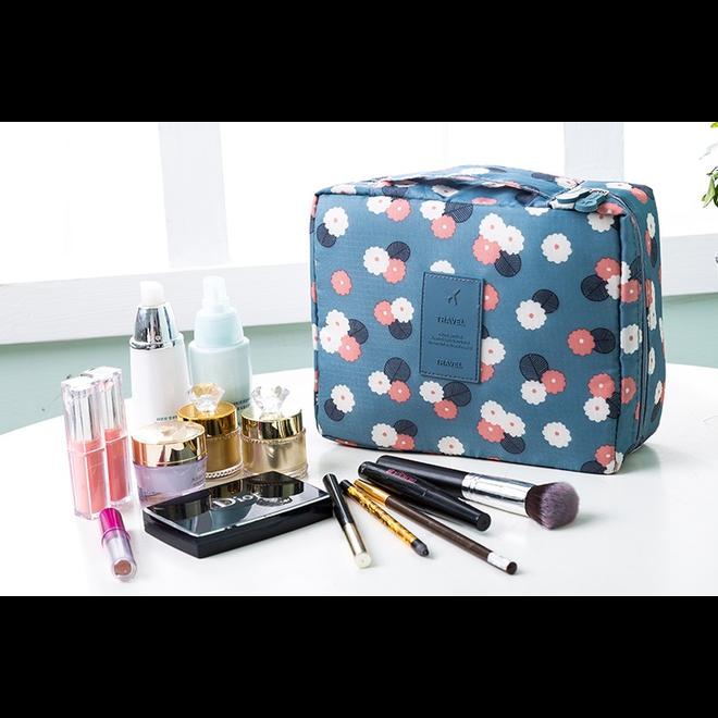 Travel 'Blue Flower' Toilettas Blauw Bloemen | Make Up Organizer/Travel Bag/Reistas