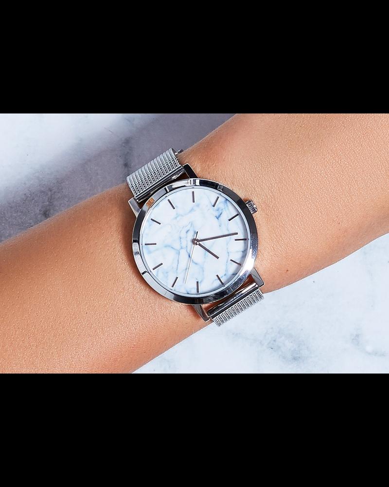 Fashion Favorite Marble Mesh Horloge - Staal - Zilver - Ø 38 mm