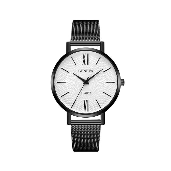 Geneva Roman Mesh Horloge - Zwart
