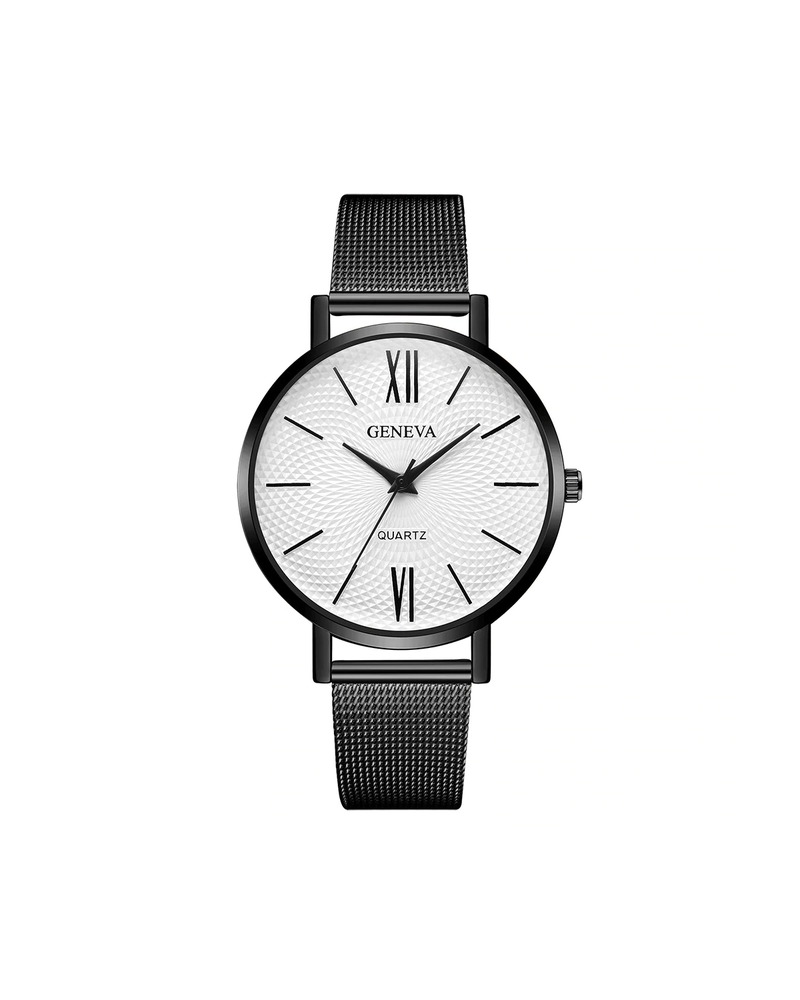 Geneva Geneva Roman Mesh Horloge - Zwart - Staal - Ø 38 mm