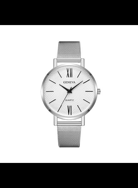 Geneva Geneva Roman Mesh Horloge - Zilver