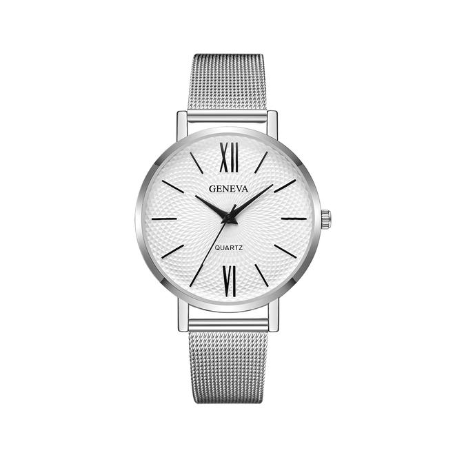 Geneva Roman Mesh Horloge - Zilver