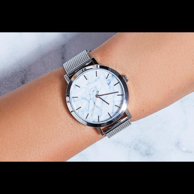 Geneva Roman Mesh Horloge - Zilver - Staal - Ø 38 mm