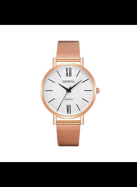 Geneva Geneva Roman Mesh Horloge - Rosé