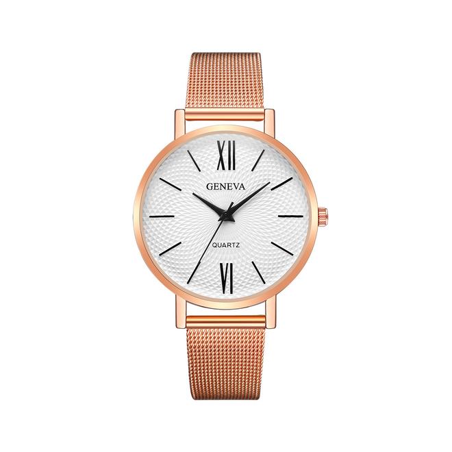 Geneva Roman Mesh Horloge - Rose