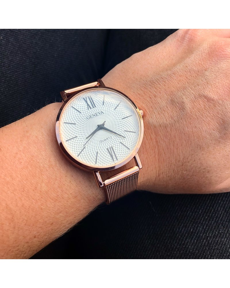 Geneva Geneva Roman Mesh Horloge - Rosé - Staal - Ø 38 mm