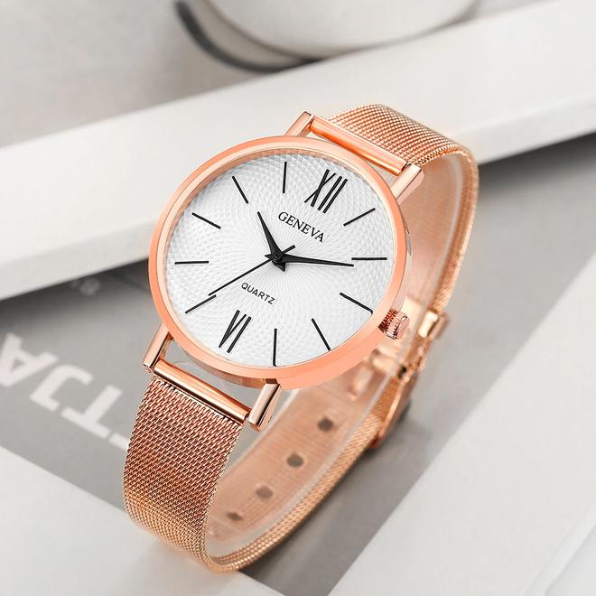 Geneva Roman Mesh Horloge - Rosé - Staal - Ø 38 mm