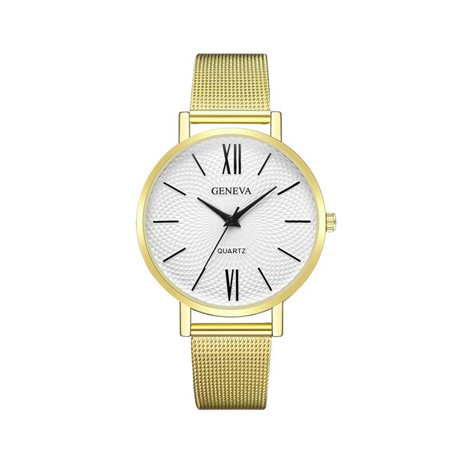 Geneva Roman Mesh Horloge - Goud - Staal - Ø 38 mm
