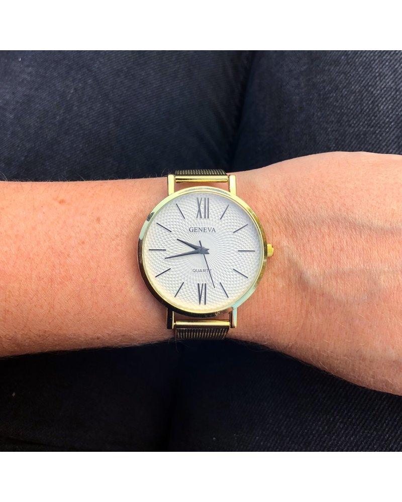 Geneva Geneva Roman Mesh Horloge - Goud - Staal - Ø 38 mm