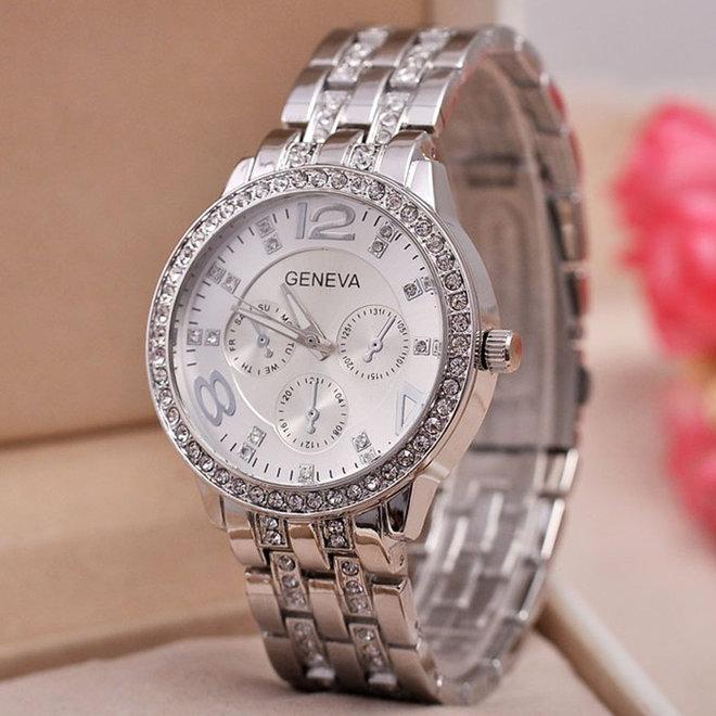 Geneva Dames Horloge - Zilverkleurig & Kristal - Ø 40 mm