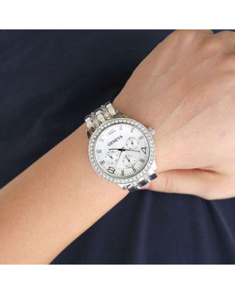Geneva Geneva Dames Horloge - Zilverkleurig & Kristal - Ø 40 mm