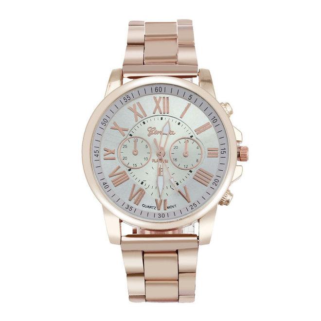 Geneva Roman Horloge - RVS-  Rosegoud & Wit - Ø  40 mm