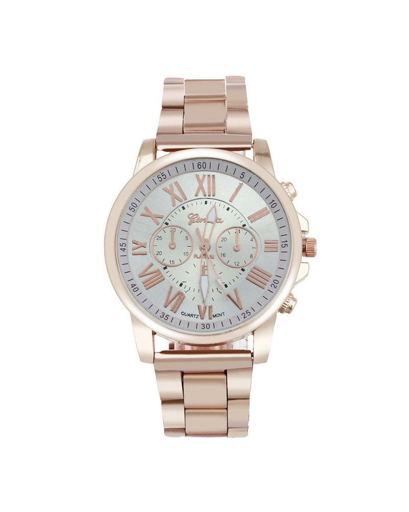 Geneva Geneva Roman Horloge - RVS-  Rosegoud & Wit - Ø  40 mm