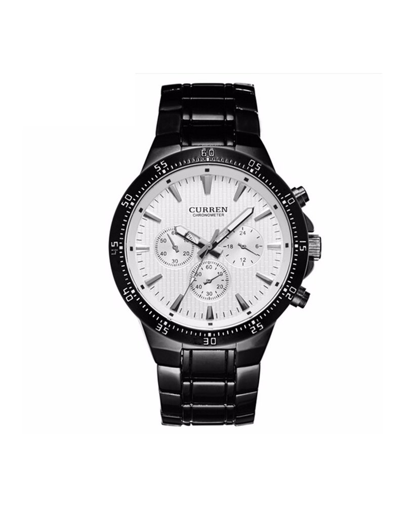 Curren Curren Black/White Steel - Heren Horloge - Staal - Zwart/Wit - 48 mm