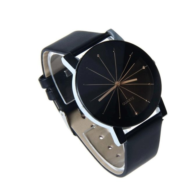 Black Quartz Horloge - PU lederen band - Rosegoud & Zwart