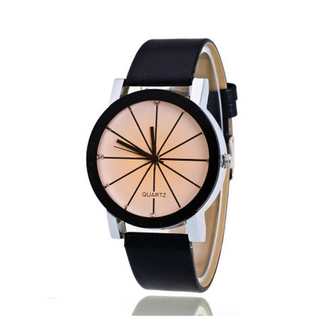 Black Ivory Quartz Horloge | Zwart & Crème | PU Lederen Band