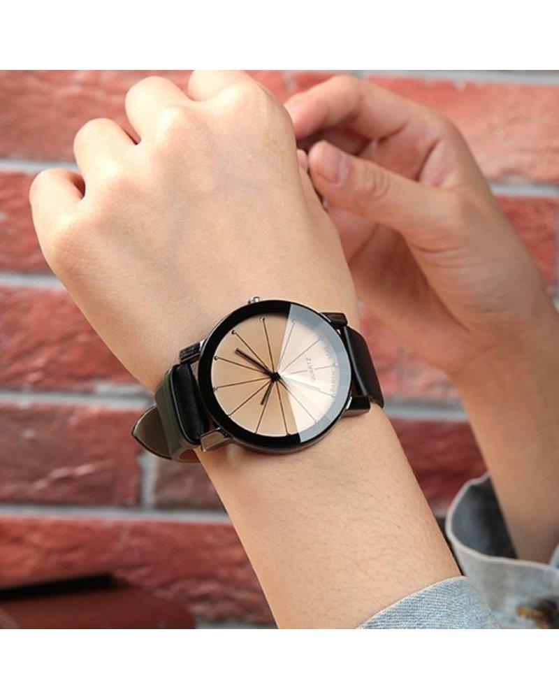 Fashion Favorite Black Ivory Quartz Horloge | Zwart & Crème | PU Lederen Band