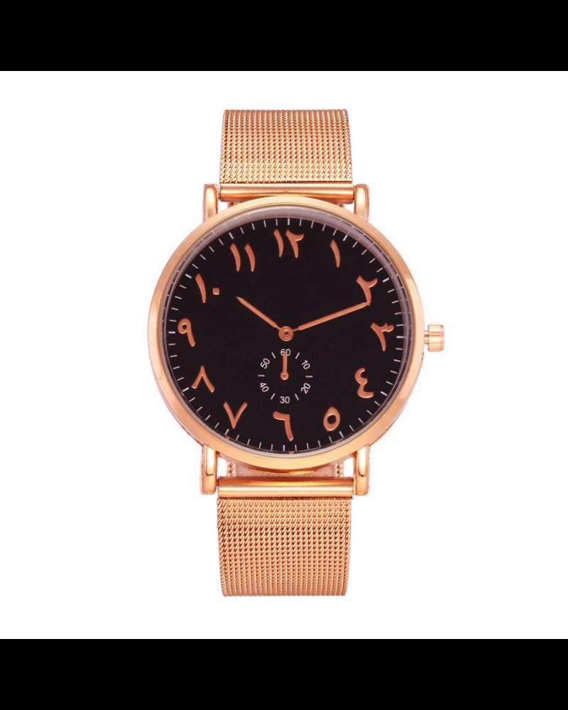 Fashion Favorite Arabic Mesh Rose Black Horloge | Rosekleurig - Zwart | Arabische Cijfers | Staal |  Ø 40 mm