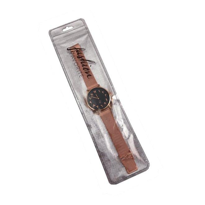 Arabic Mesh Rose Black Horloge | Rosekleurig - Zwart | Arabische Cijfers