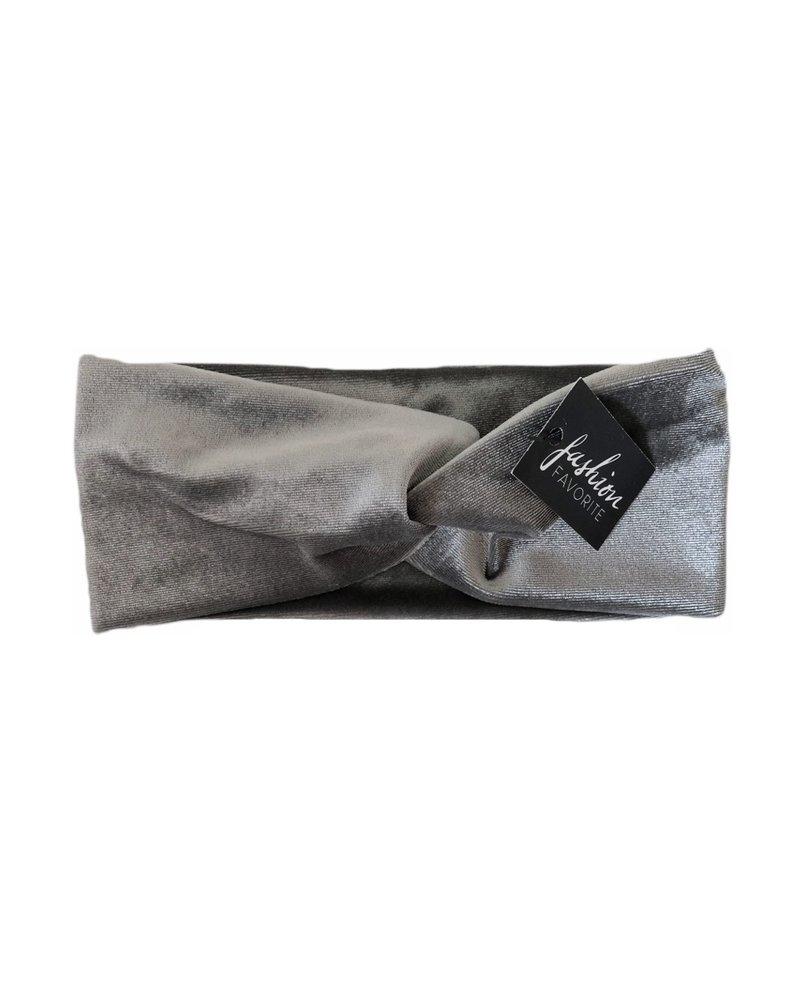 Fashion Favorite Velvet Haarband Grijs | Velours-Suede-Fluweel | Bandana