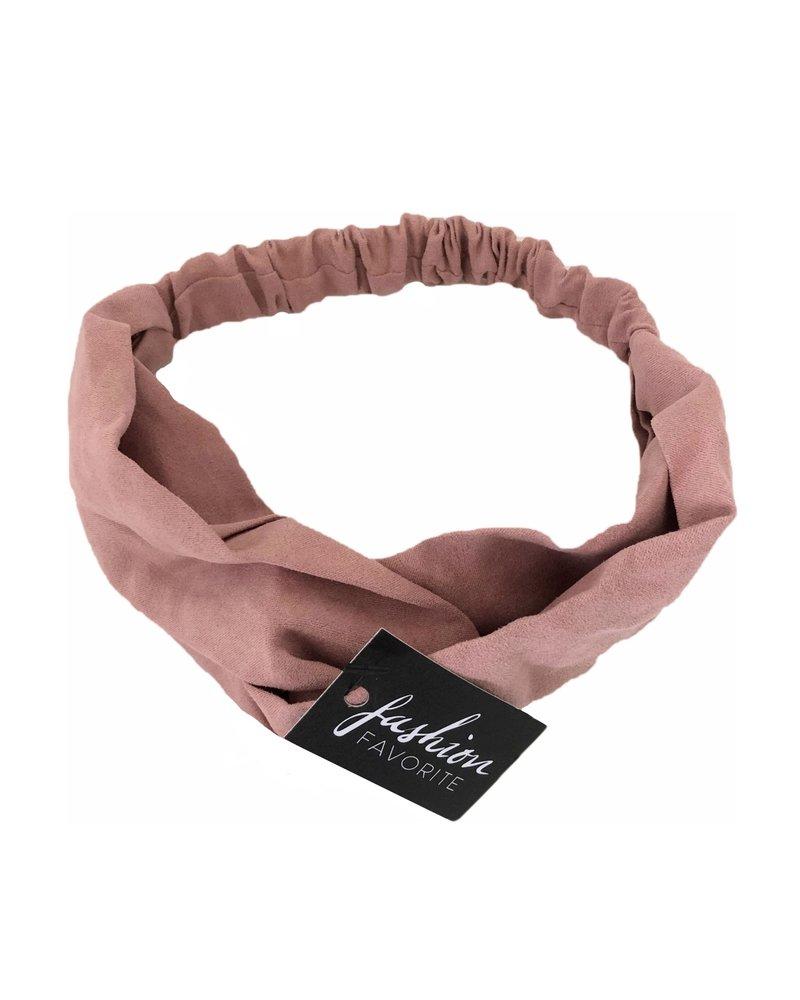 Fashion Favorite Suede Cross Haarband Pink | Oud Roze | Velvet Suède