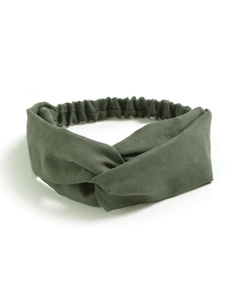 Fashion Favorite Suede Cross Haarband Olive | Groen | Velvet Suède