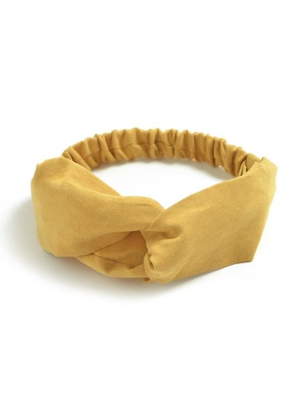 Fashion Favorite Suede Cross Haarband Mustard | Geel | Velvet Suède