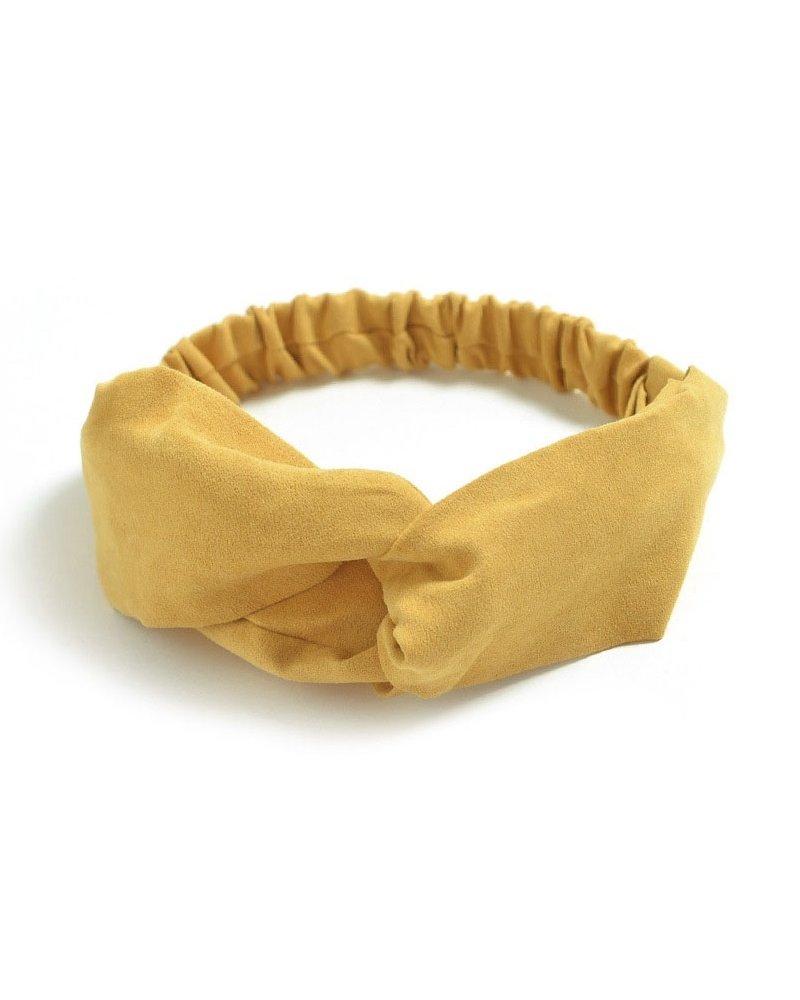 Fashion Favorite Suede Cross Haarband Mustard | Geel | Velvet Suède