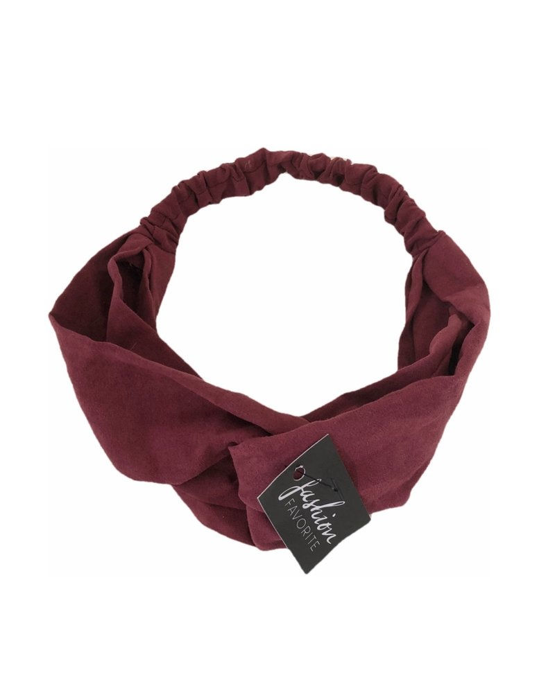 Fashion Favorite Suede Cross Haarband Burgundy | Wijnrood | Velvet Suède