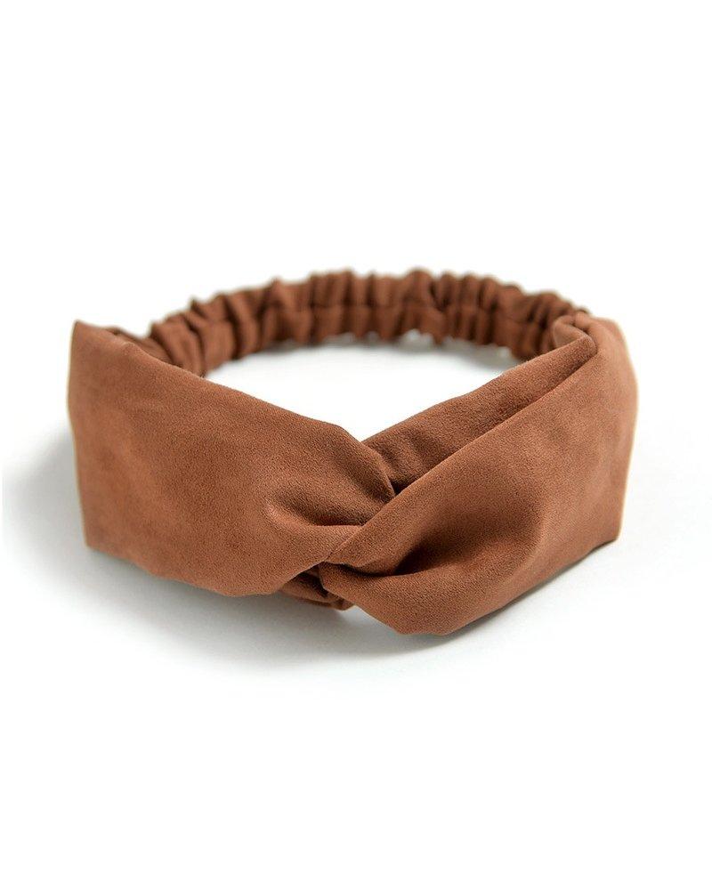 Fashion Favorite Suede Cross Haarband Brown | Bruin | Velvet Suede