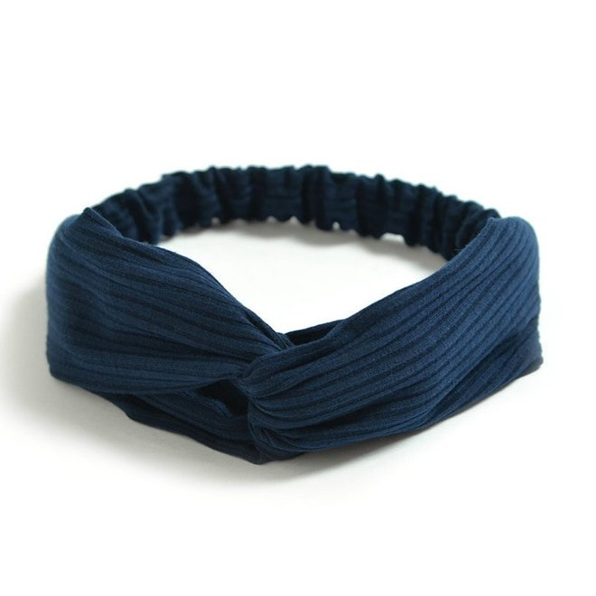 Knitted Haarband Navy Blue | Blauw
