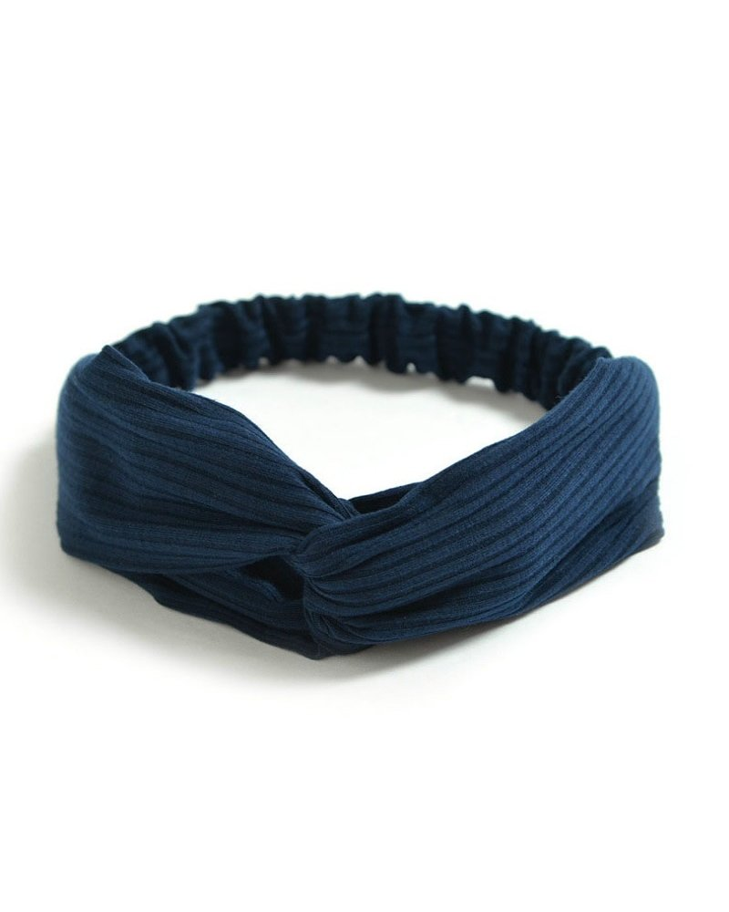 Fashion Favorite Knitted Haarband Navy Blue | Blauw | Katoen | Cross Bandana