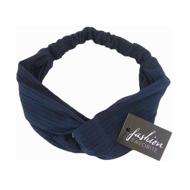 Knitted Haarband Navy Blue | Blauw | Katoen | Cross Bandana