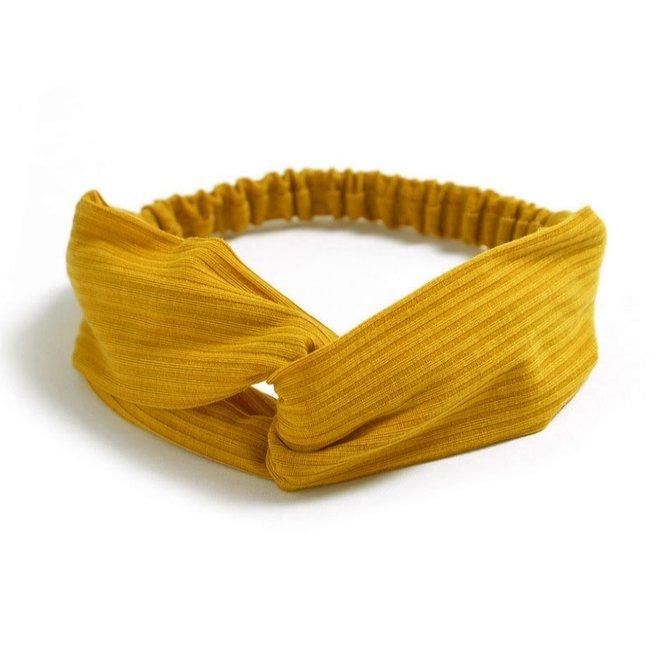 Knitted Haarband Mustard | Geel | Katoen | Cross Bandana
