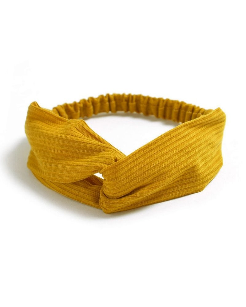 Fashion Favorite Knitted Haarband Mustard | Geel | Katoen | Cross Bandana