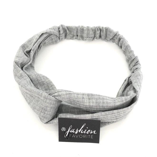 Knitted Haarband Grey   Grijs   Katoen   Cross Bandana