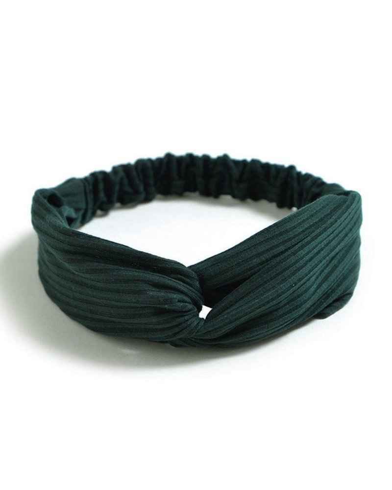 Fashion Favorite Knitted Haarband Green | Groen | Katoen | Cross Bandana