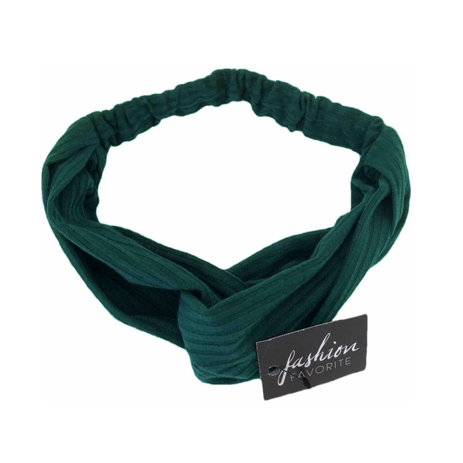 Knitted Haarband Green   Groen   Katoen   Cross Bandana