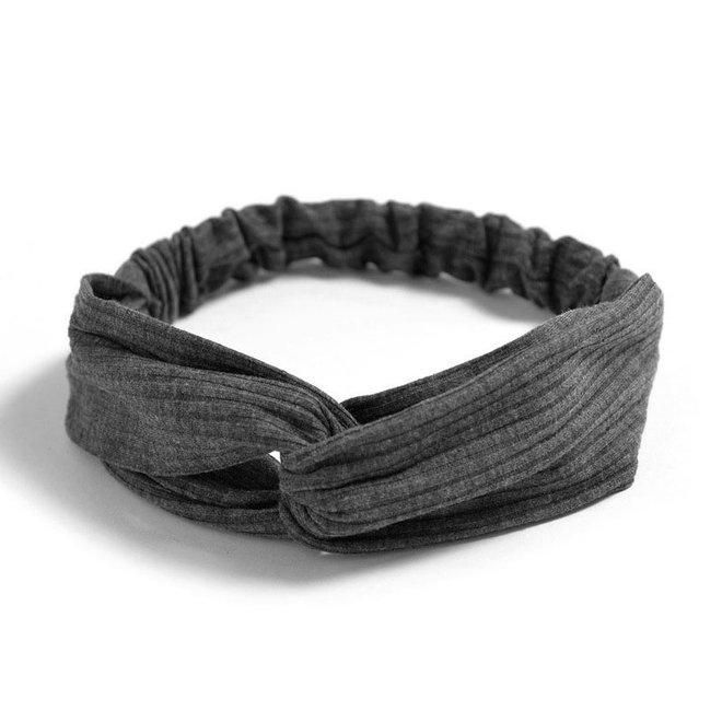 Knitted Haarband Dark Grey | Grijs | Katoen | Cross Bandana