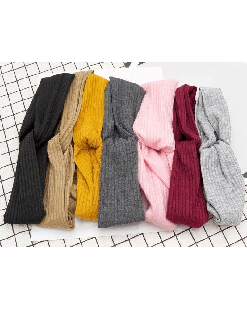 Fashion Favorite Knitted Haarband Dark Grey | Grijs | Katoen | Cross Bandana