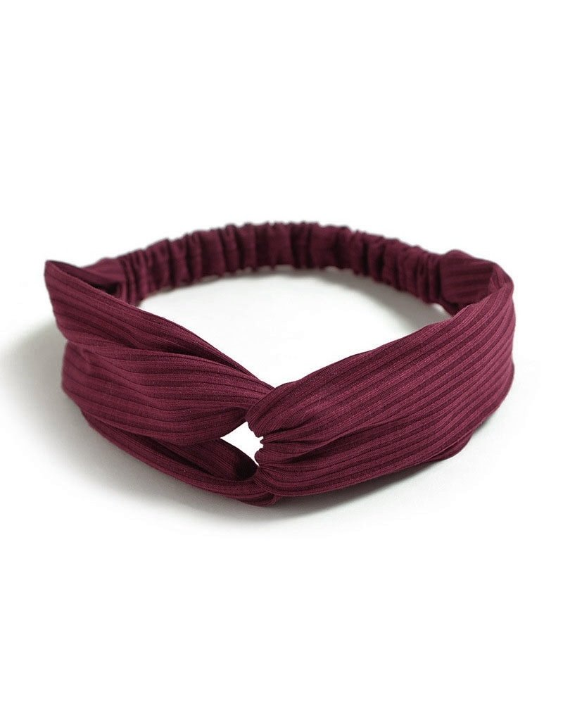 Fashion Favorite Knitted Haarband Burgundy | Wijnrood | Katoen | Cross Bandana
