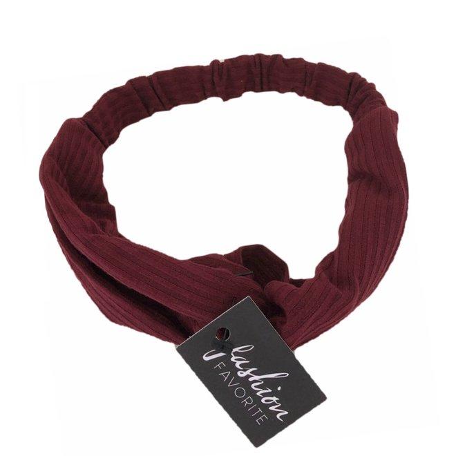Knitted Haarband Burgundy | Wijnrood | Katoen | Cross Bandana