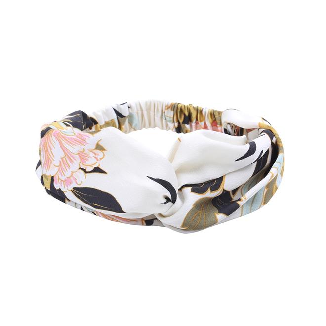Haarband Oriental White Flowers   Satijn - Bloemen   Elastische Bandana
