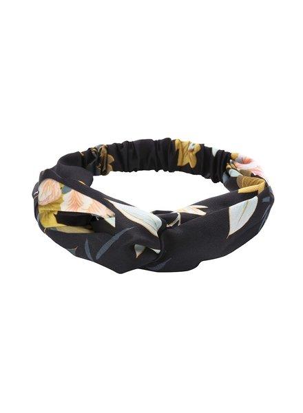 Fashion Favorite Haarband Oriental Black Flowers | Satijn - Bloemen