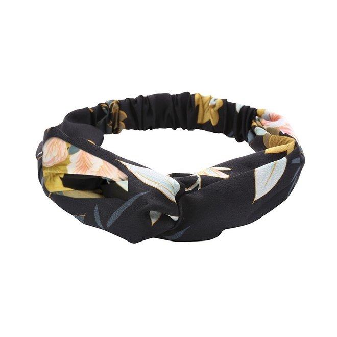 Haarband Oriental Black Flowers | Satijn - Bloemen | Elastische Bandana