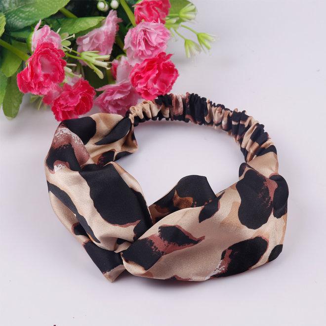 Haarband Leopard - Luipaard   Satijn - Polyester   Elastische Bandana