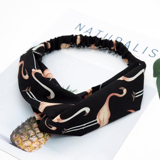 Haarband Flamingo Zwart   Polyester   Elastische Bandana