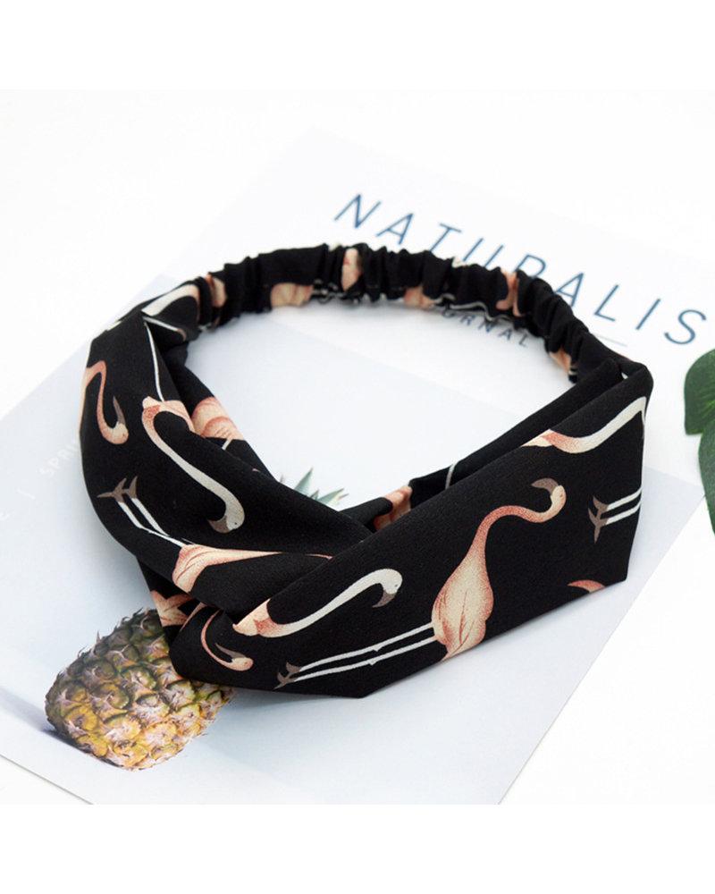 Fashion Favorite Haarband Flamingo Zwart | Polyester | Elastische Bandana