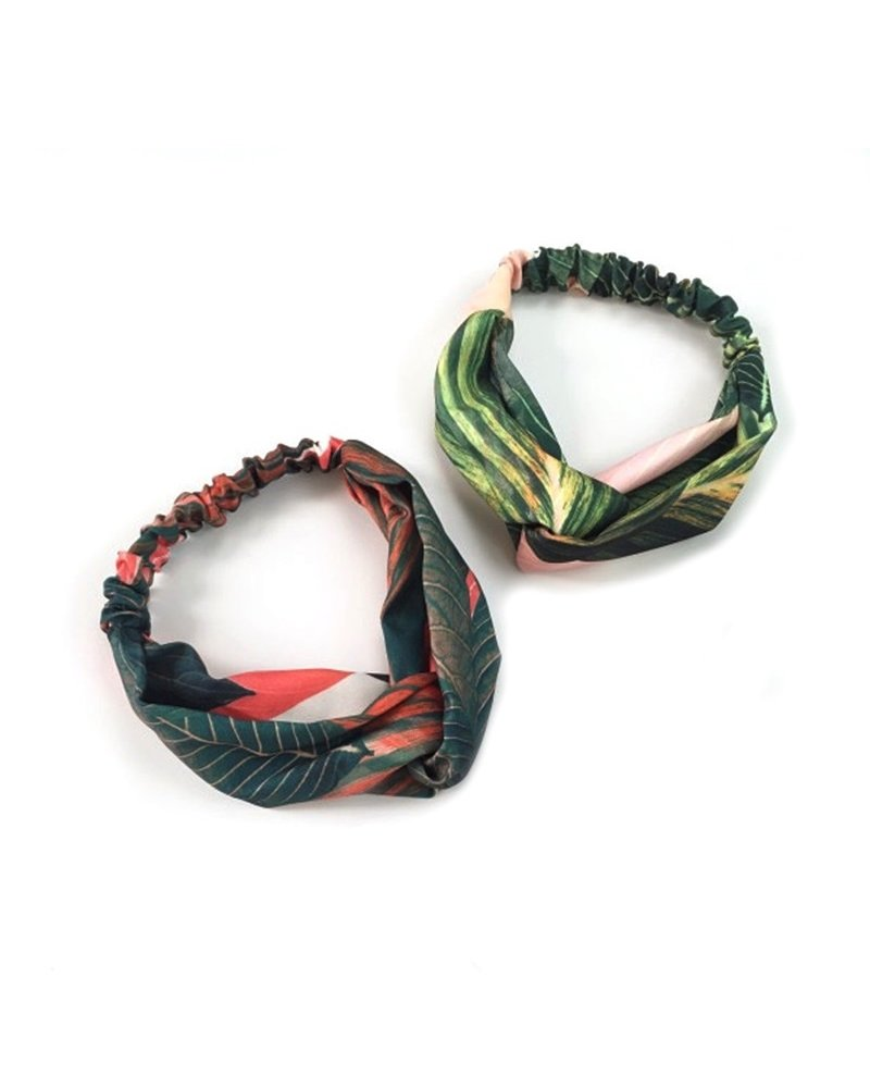 Fashion Favorite Haarband Botanic Jungle | Red Leafs | Katoen Bandana