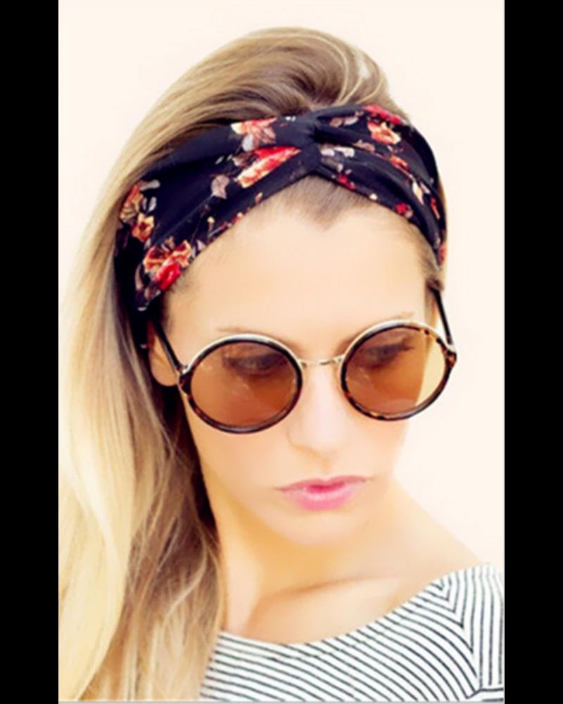 Fashion Favorite Haarband Bloemen Leaf Zwart| Katoen | Bandana